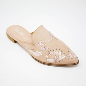 MIRANDA Floral Embroidered Pointed Toe Mule Shoe